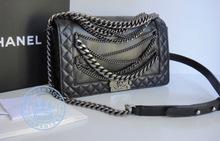 Chanel BOY ENCHAINED BLACK Handbag, CALFSKIN MEDIUM MULTI CHAIN