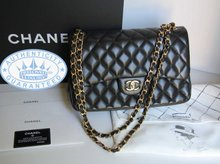 Chanel  Jumbo Shoulder Bag CC Gold Chain  , Vintage Black Quilted Leather Double Flap