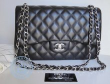 Chanel  Jumbo Shoulder Bag CC Silver Chain  Handbag, Vintage Black Quilted Leather Double Flap