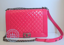 Chanel Large Quilted Boy Bag Handbag, on Pink