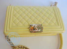 Chanel  Yellow Lambskin Medium Boy Handbag