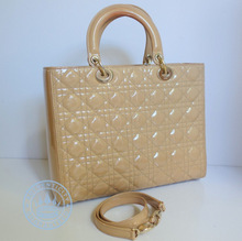 Christian Dior Cream Cannage Quilted Leather Large Handbag